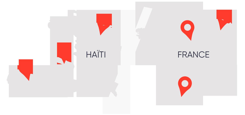 Carte des membres en Haïti et en France